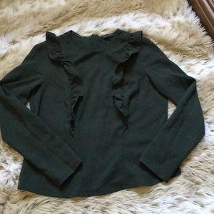 Zara - Green Ruffled Long sleeve Blouse Medium